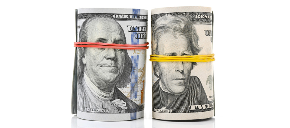 Healthcare price transparency money with rubber bands