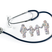 The true cost of healthcare - Four people created out of money surrounded by stethoscope
